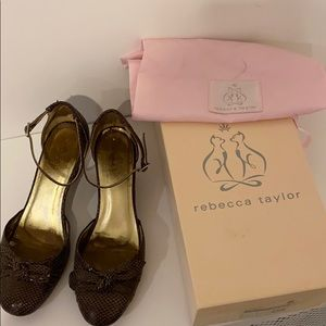 Rebecca Taylor Bow Wedge in Chocolate